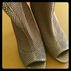 BCBG silver stretchy mini boots